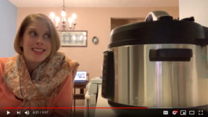 Jenny Smith looking at and cooking in her new Crock-Pot Express